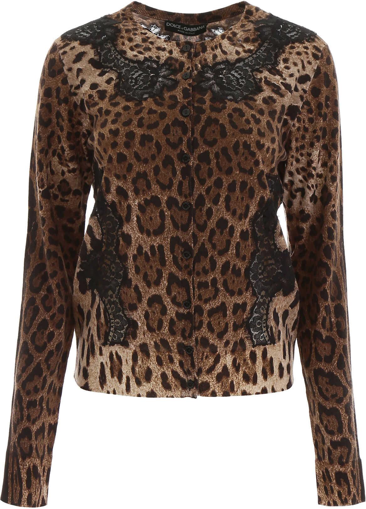 Dolce & Gabbana Animalier Cardigan With Lace LEO NEW