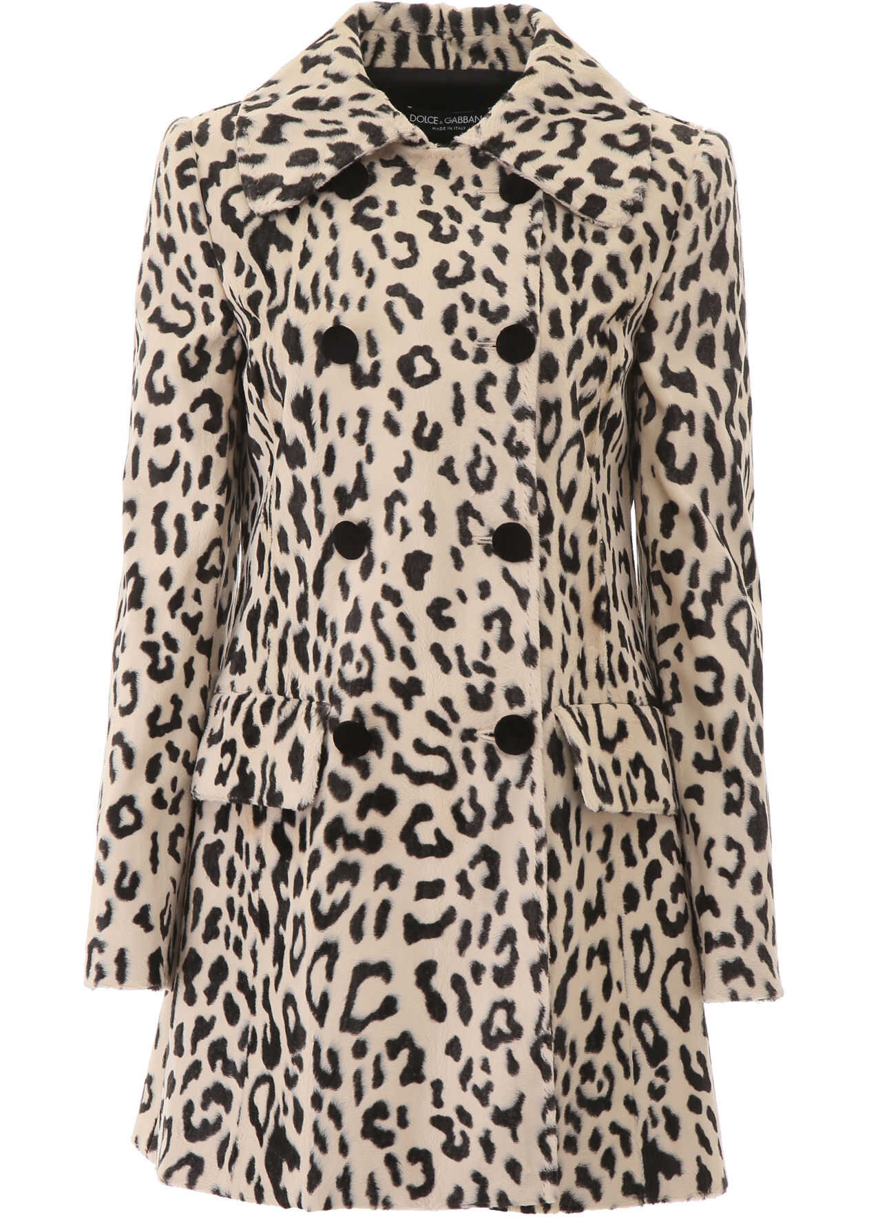 Dolce & Gabbana Animalier Faux Fur Coat LEO NERO FDO NATURAL