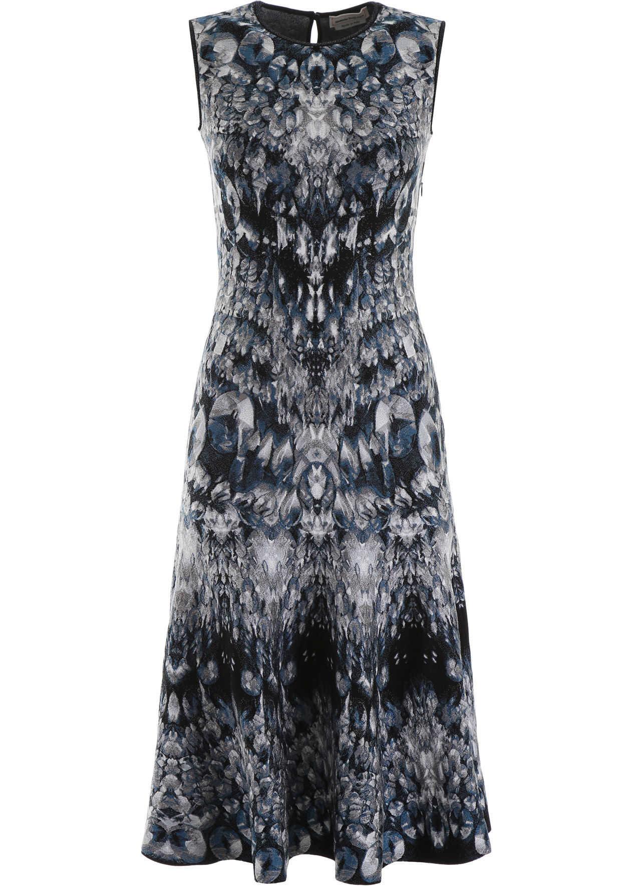 Alexander McQueen Archive Print Dress BLUE BLACK IVORY
