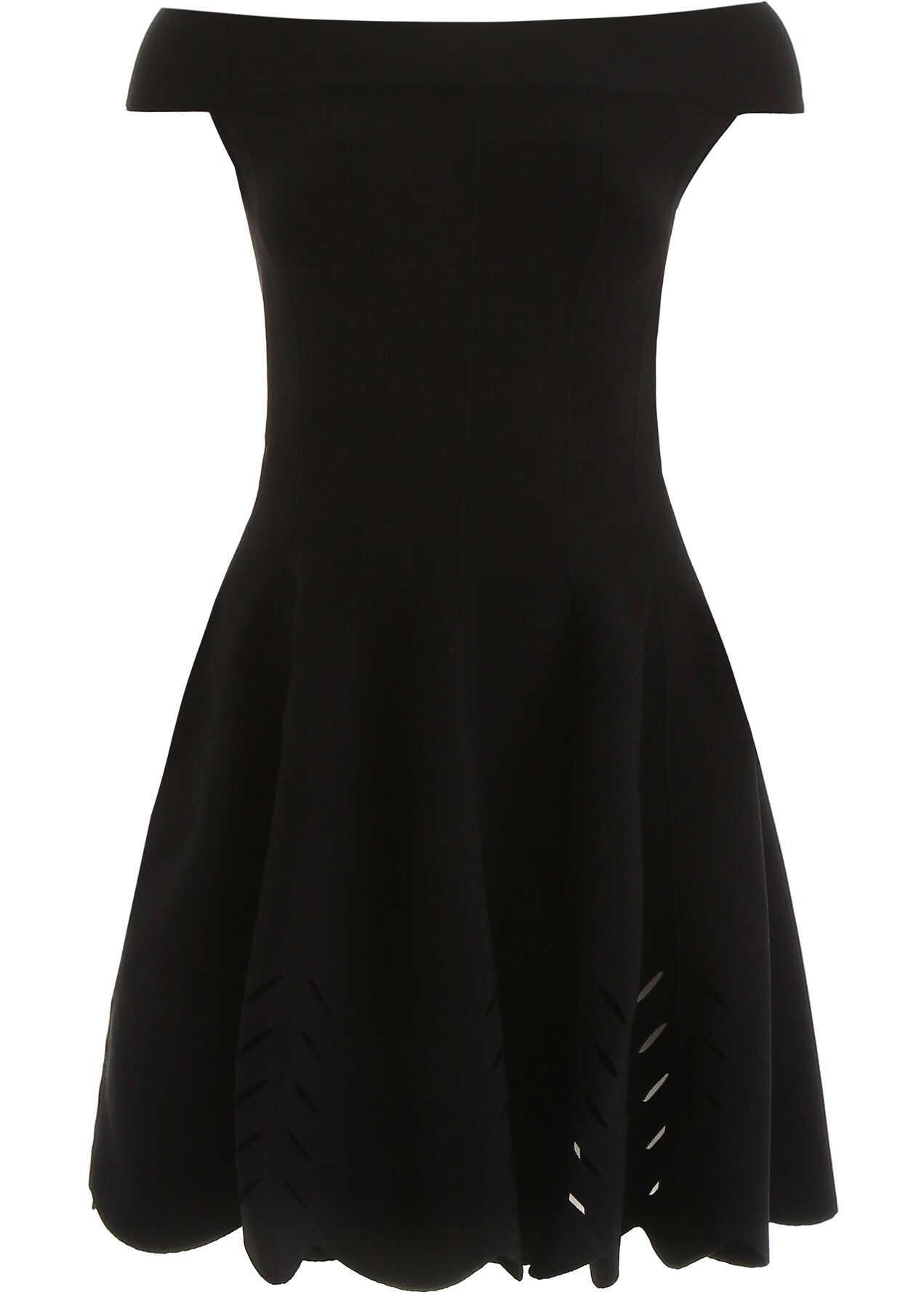 Alexander McQueen Off-Shoulder Dress BLACK