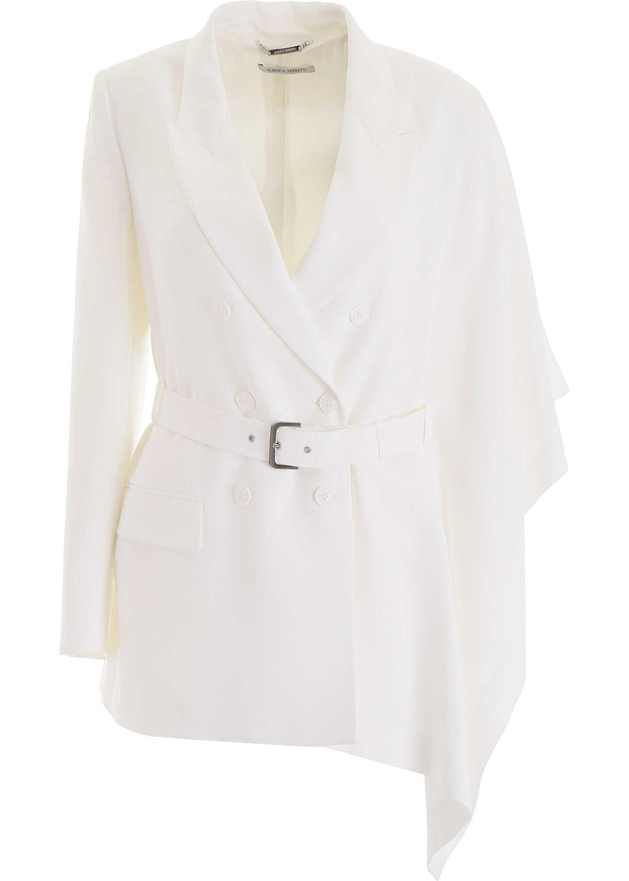 Alberta Ferretti Belted Jacket WHITE