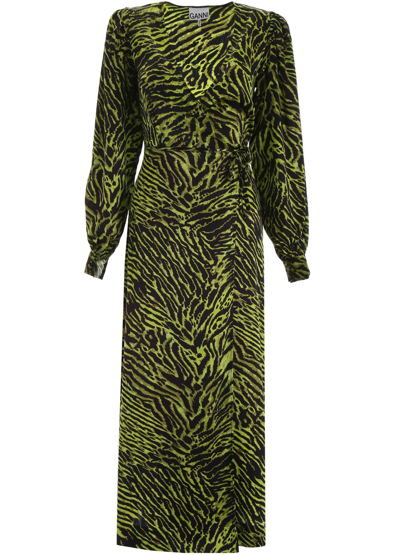 Ganni Zebra-Printed Wrap Dress LIME BLACK