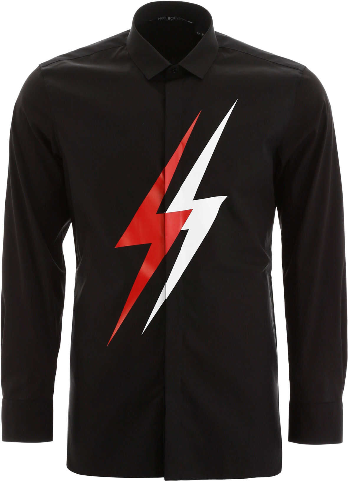 Neil Barrett Bicolor Thunder Shirt BLACK WHITE RED