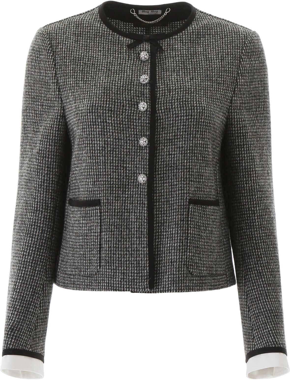 Miu Miu Shetland Tweed Jacket ARDESIA