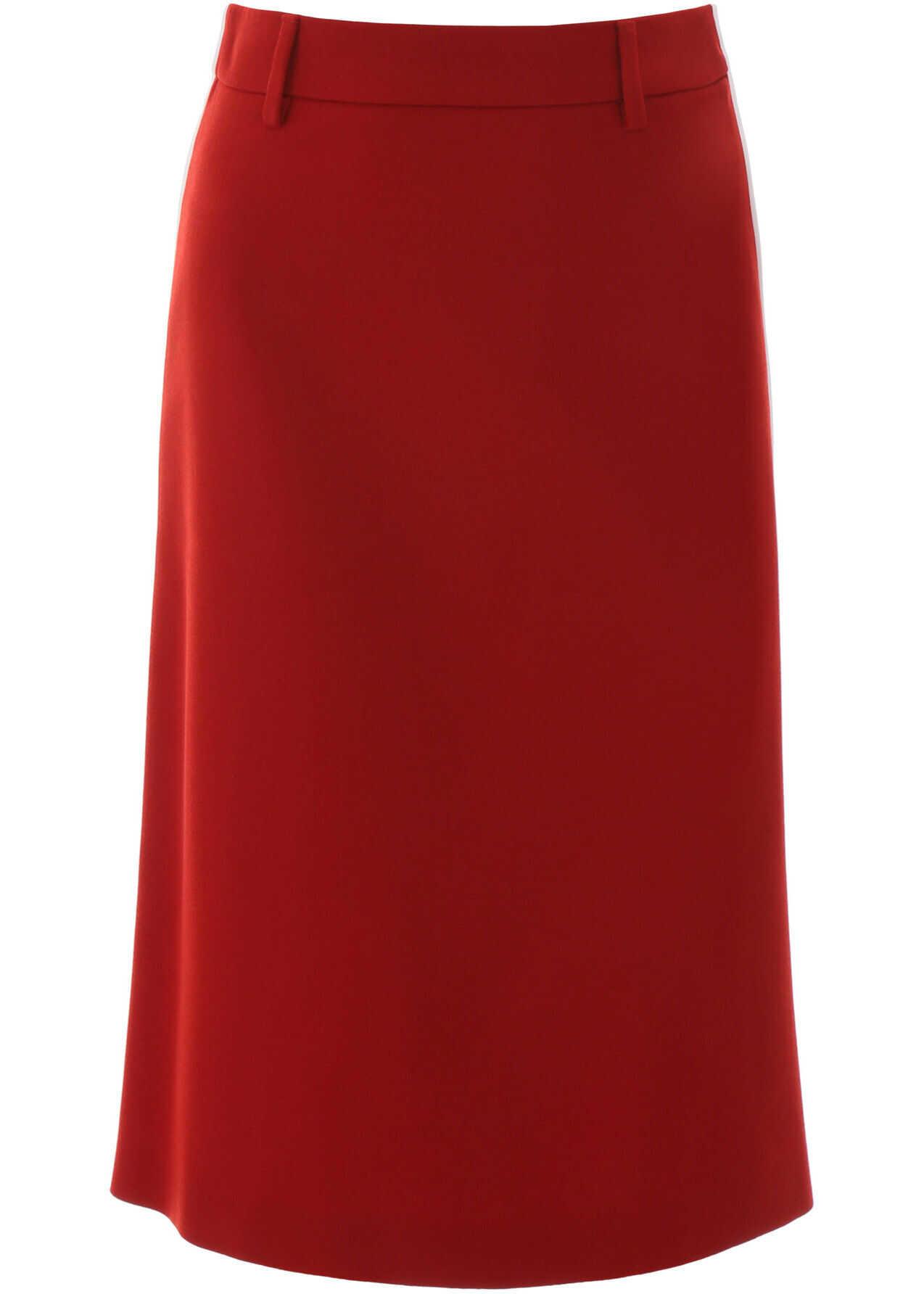 Prada Midi Skirt With Piping ROSSO BIANCO