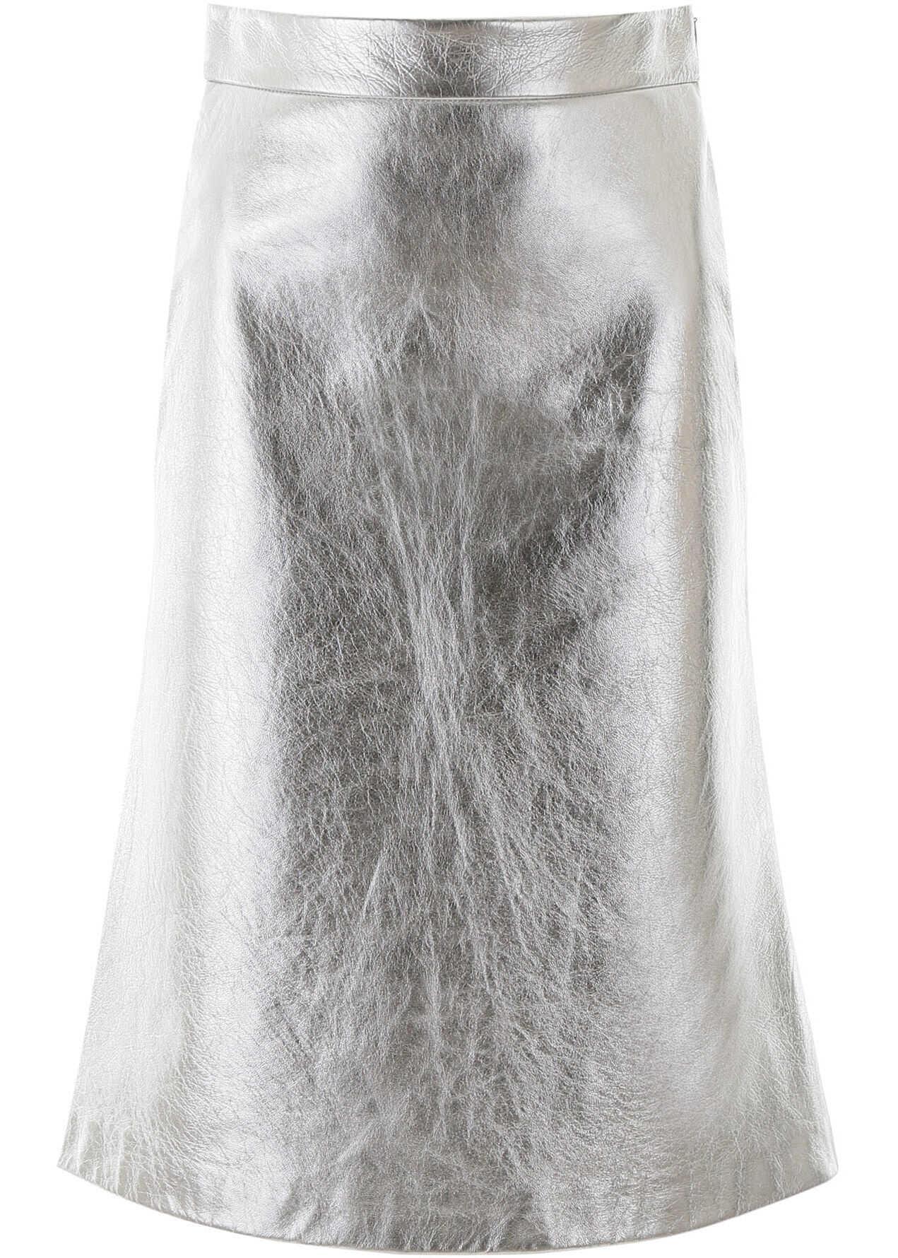Prada Laminated Leather Skirt ARGENTO