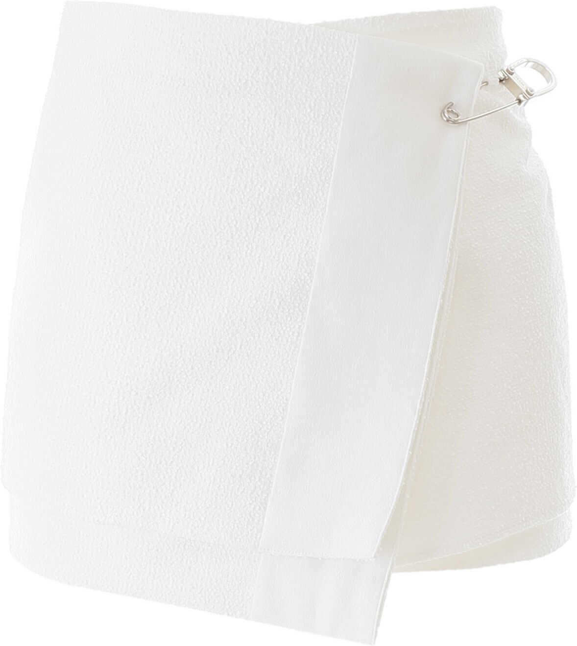 Prada Rush Stitch Wrap Mini Skirt BIANCO
