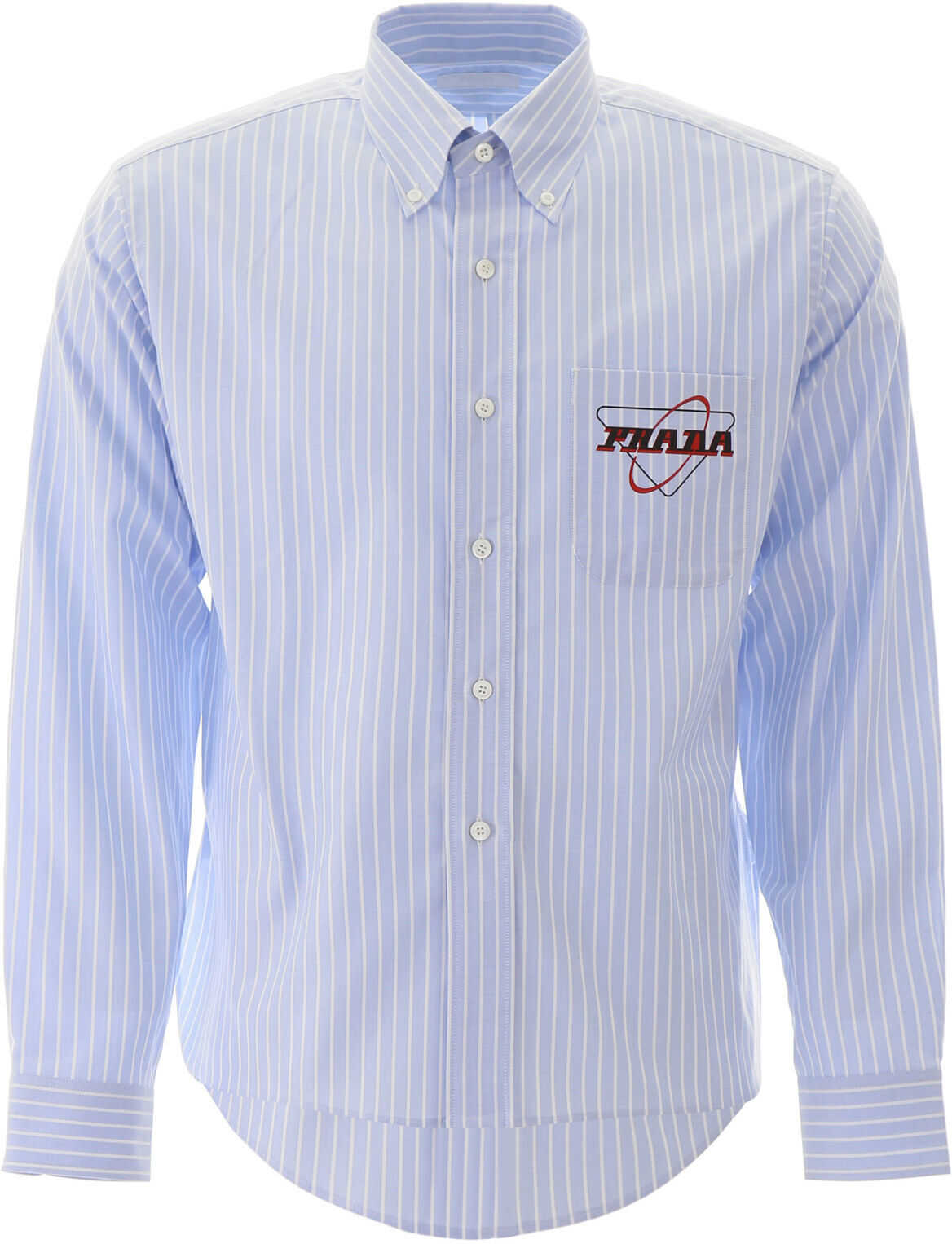 Prada Striped Shirt With Logo CIELO