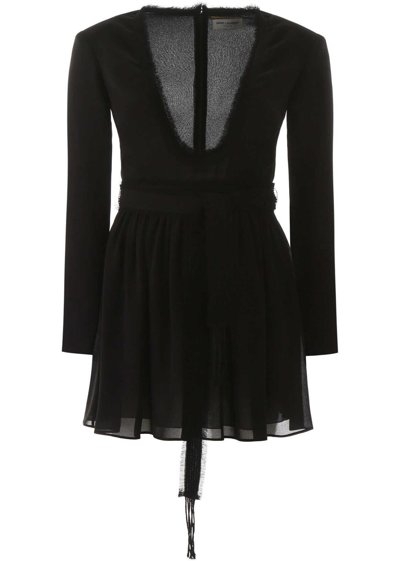 Saint Laurent Crepe Mini Dress NOIR