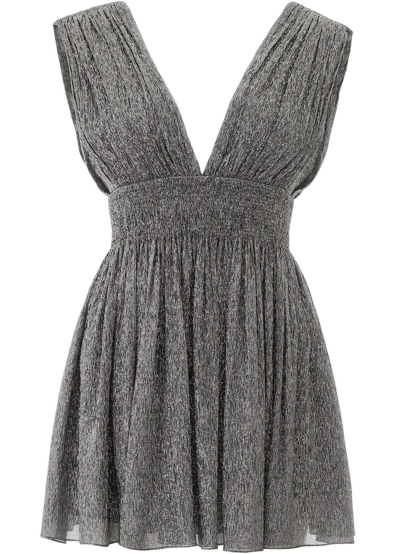 Saint Laurent Lame' Mini Dress NOIR ARGENT