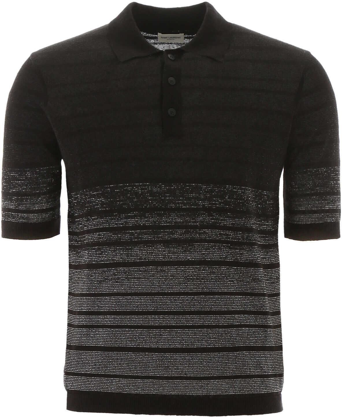 Saint Laurent Polo Shirt With Lurex Stripes NOIR ARGENT imagine