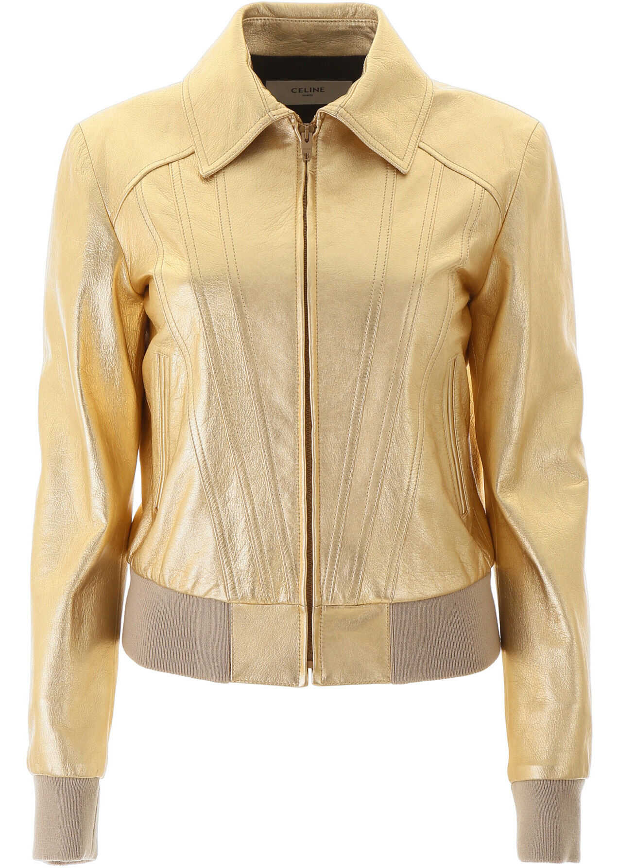 Céline Laminated Leather Jacket GOLD