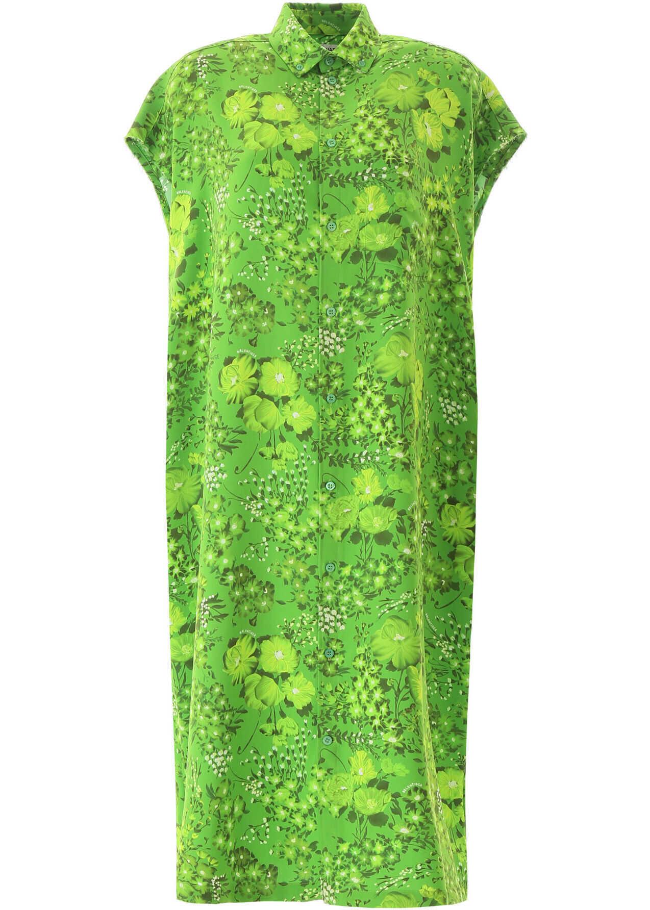Balenciaga Poppy Print Midi Dress GREEN