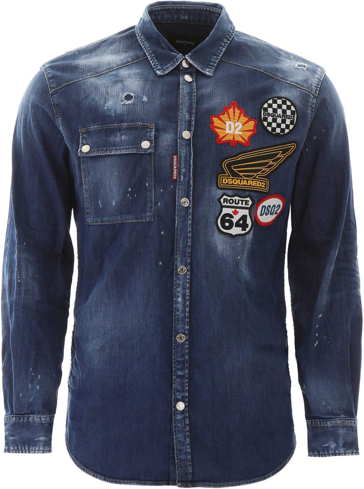 DSQUARED2 Multipatch Denim Shirt BLUE