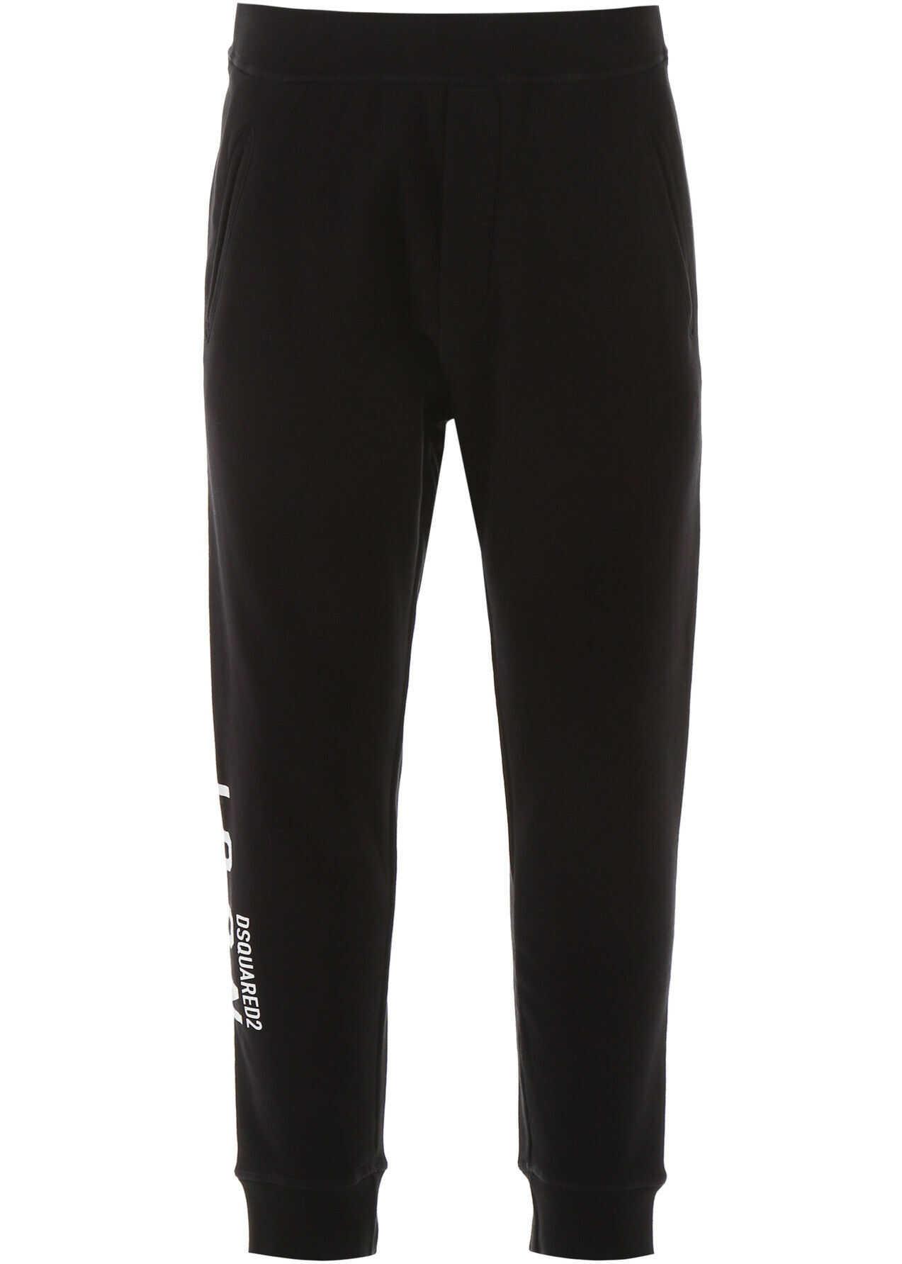 DSQUARED2 Icon Print Jogger Pants BLACK WHITE