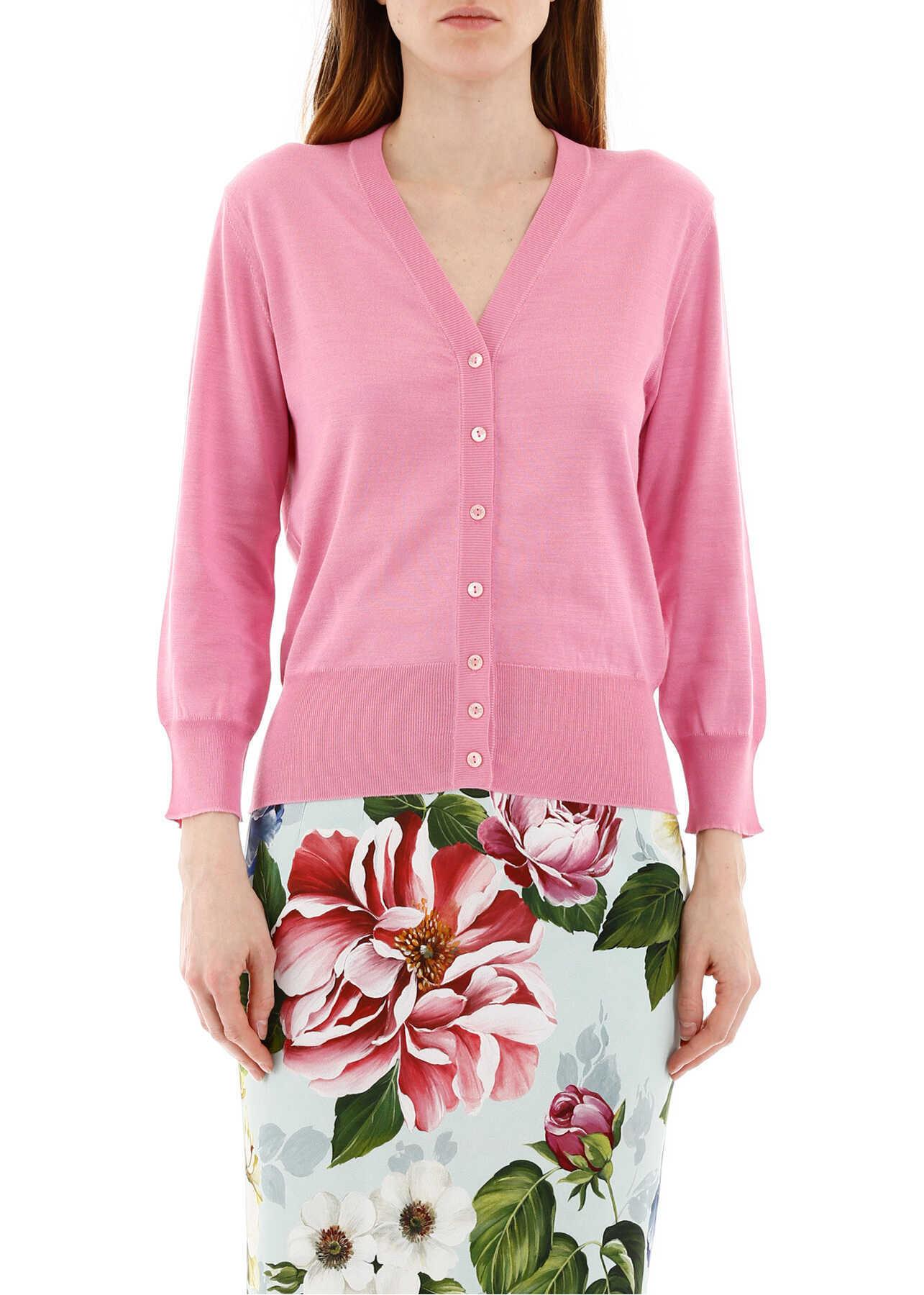 Dolce & Gabbana Silk Buttoned Cardigan ROSA CONFETTO SCURO