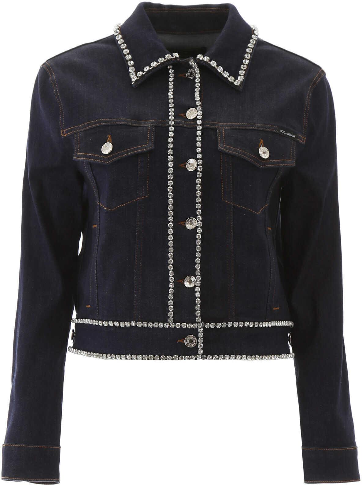 Dolce & Gabbana Denim Jacket With Crystals BLU SCURISSIMO 1