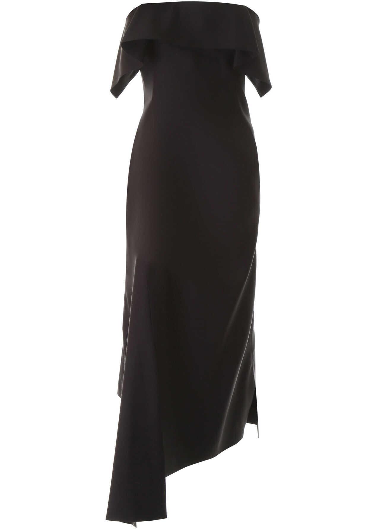 Lanvin Asymmetrical Bustier Dress BLACK