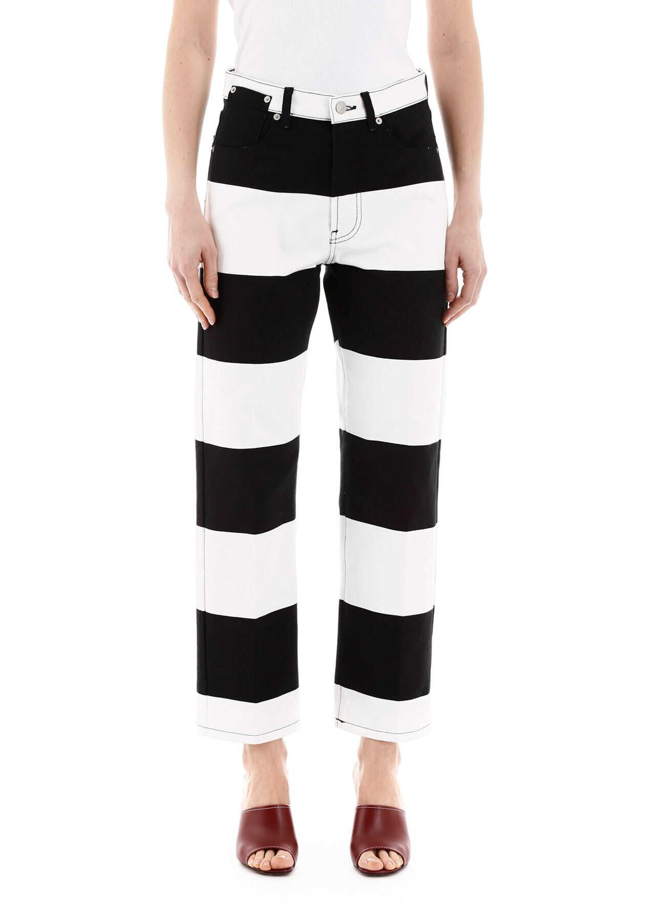 Dries Van Noten Two-Tone Jeans Maxi Stripes BLACK