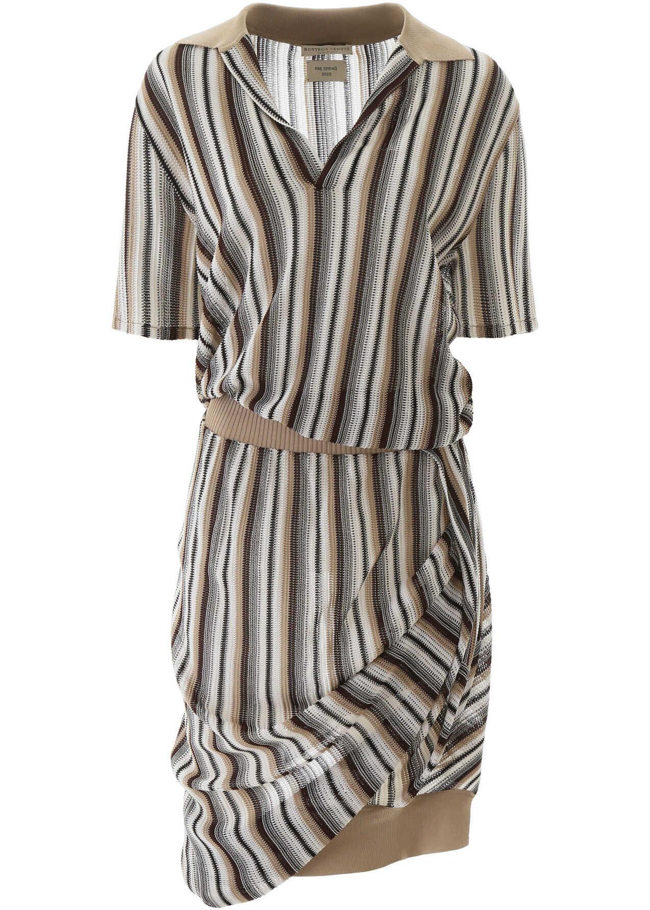 Bottega Veneta Striped Knit Polo Dress MULTICOLOR STRAW