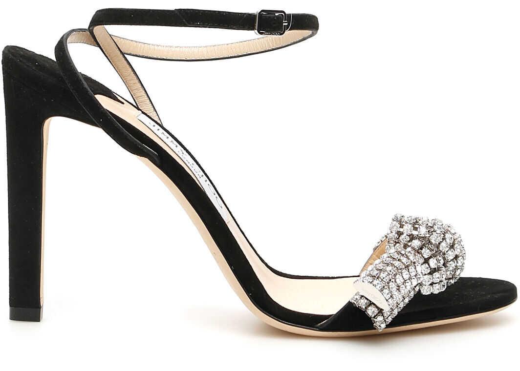 Jimmy Choo Thyra Crystal Sandals THYRA 100 YCK BLACK CRYSTAL imagine b-mall.ro