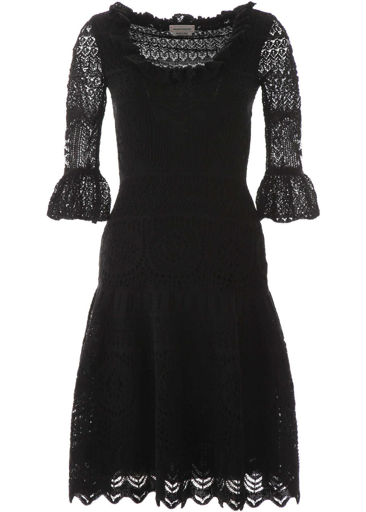 Alexander McQueen Lace Midi Dress BLACK