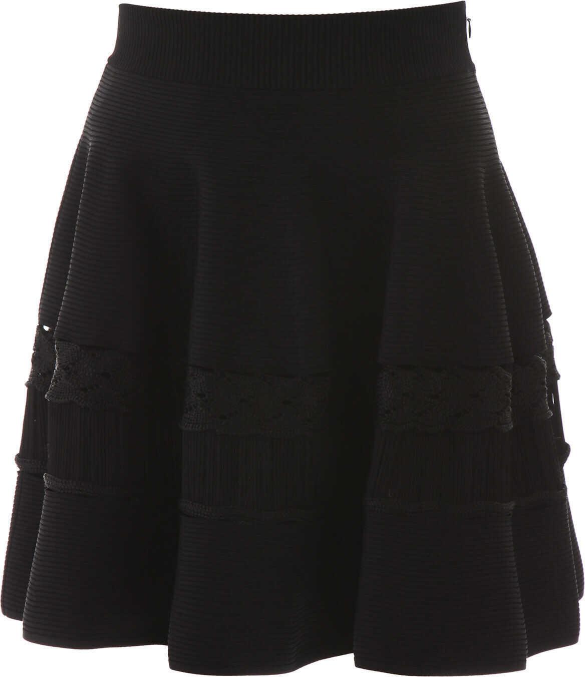 Alexander McQueen Ribbed Knit Skirt BLACK