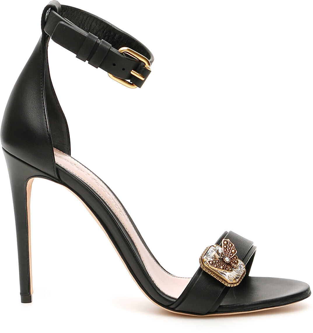 Alexander McQueen Jewels Sandals BLACK GOLD