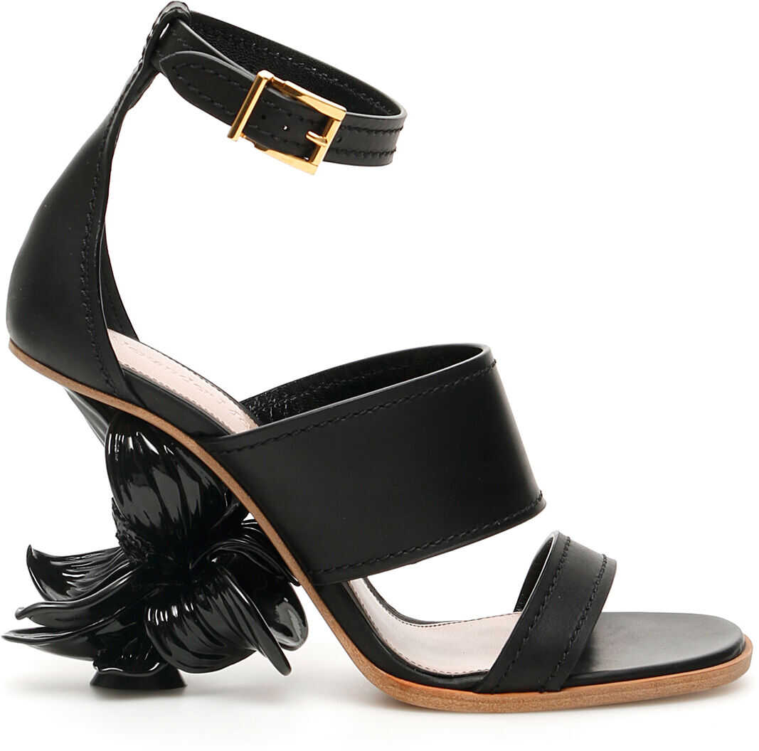 Alexander McQueen Flower Wedge Sandals N.13 BLACK GOLD BLACK