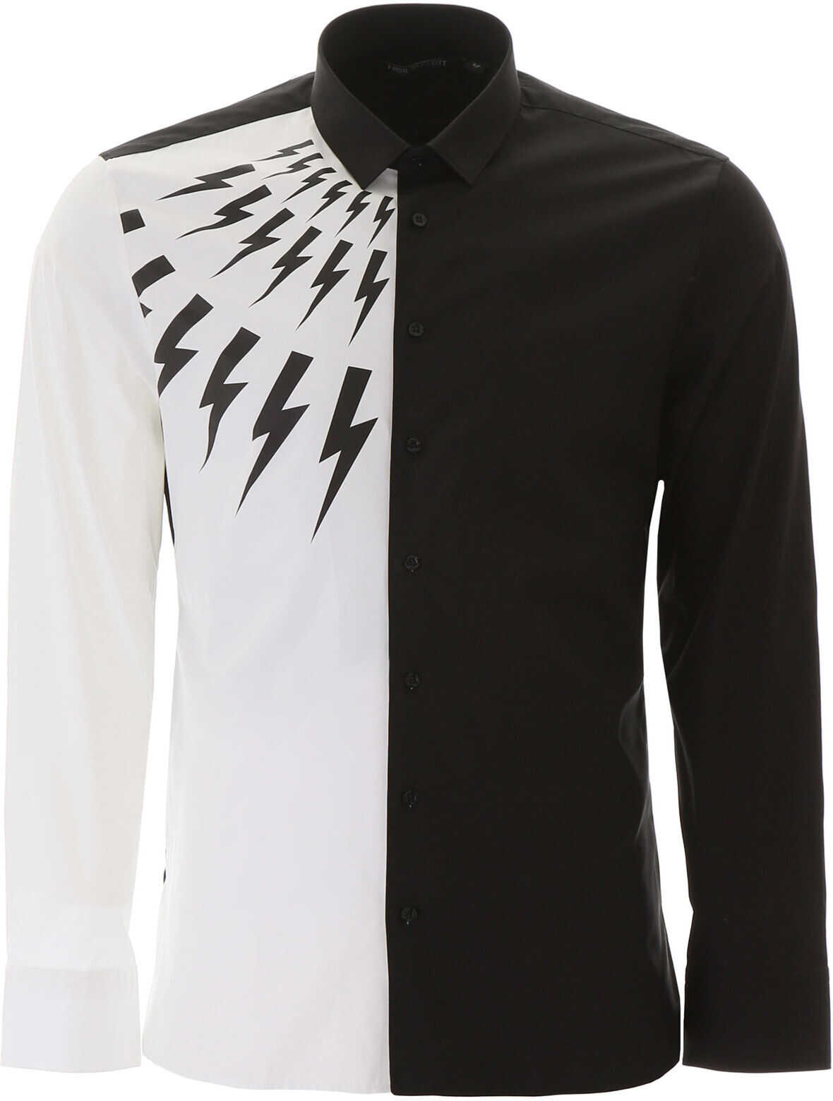 Neil Barrett Half Thunder Shirt BLACK WHITE