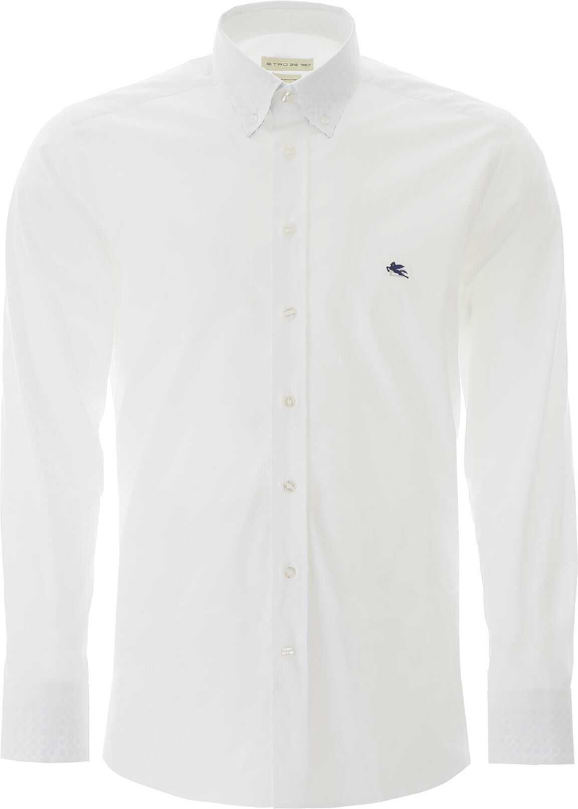 ETRO Button-Down Shirt With Pegaso Embroidery BIANCO