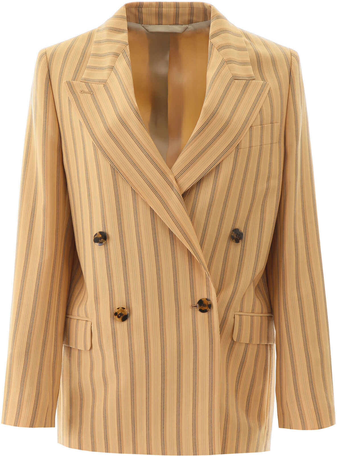 Acne Studios Striped Double-Breasted Jacket PALE ORANGE