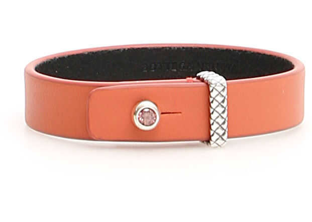 Bottega Veneta Leather Bracelet RHODOLITE HIBISC NERO