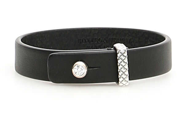 Bottega Veneta Leather Bracelet NATURAL ARG NERO