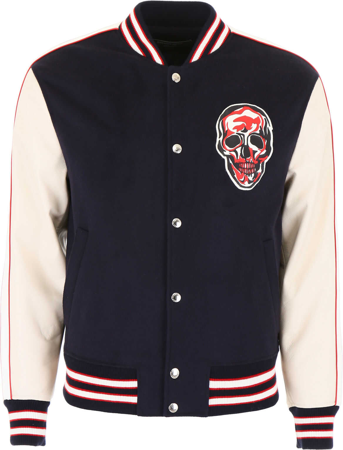 Alexander McQueen Bomber Jacket With Skull Patch NAVY IVORY WHITE RED