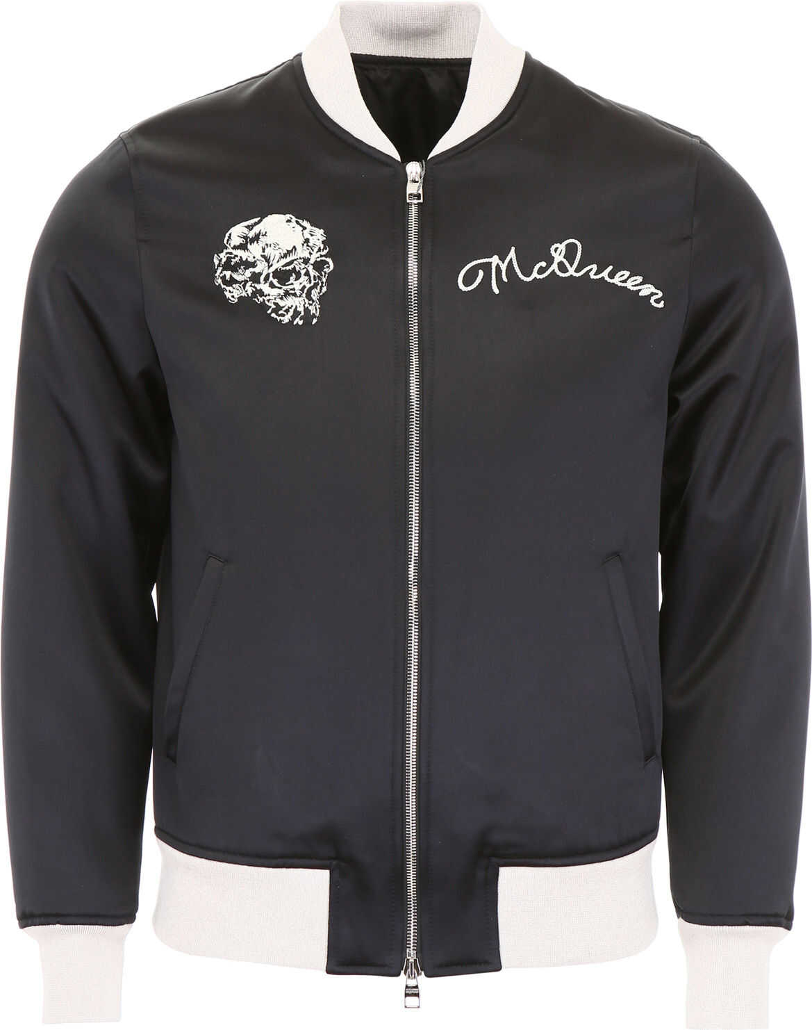 Alexander McQueen Satin Bomber Jacket With Embroidery BLACK