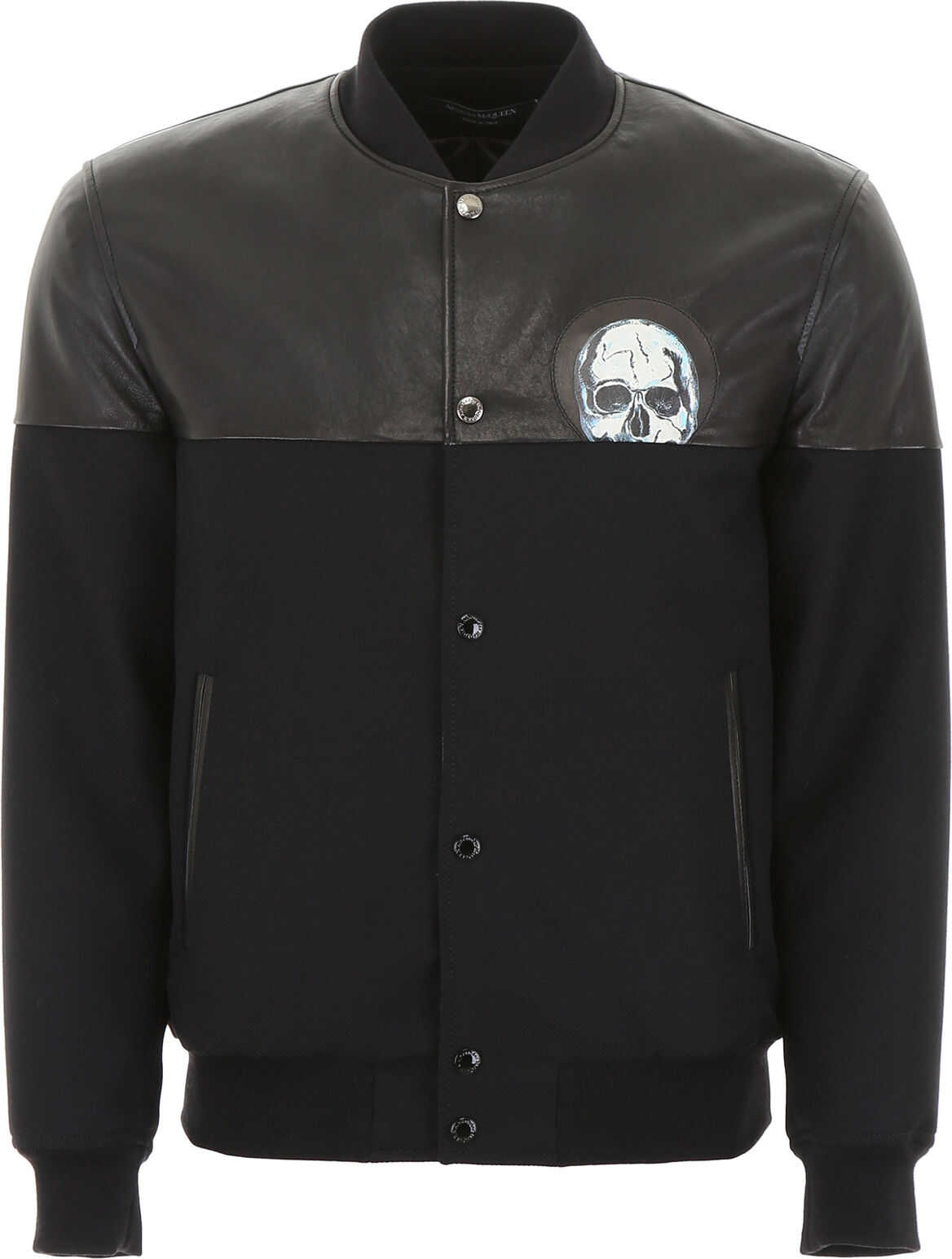 Alexander McQueen Bomber Jacket With Leather Details BLACK BLACK WHITE