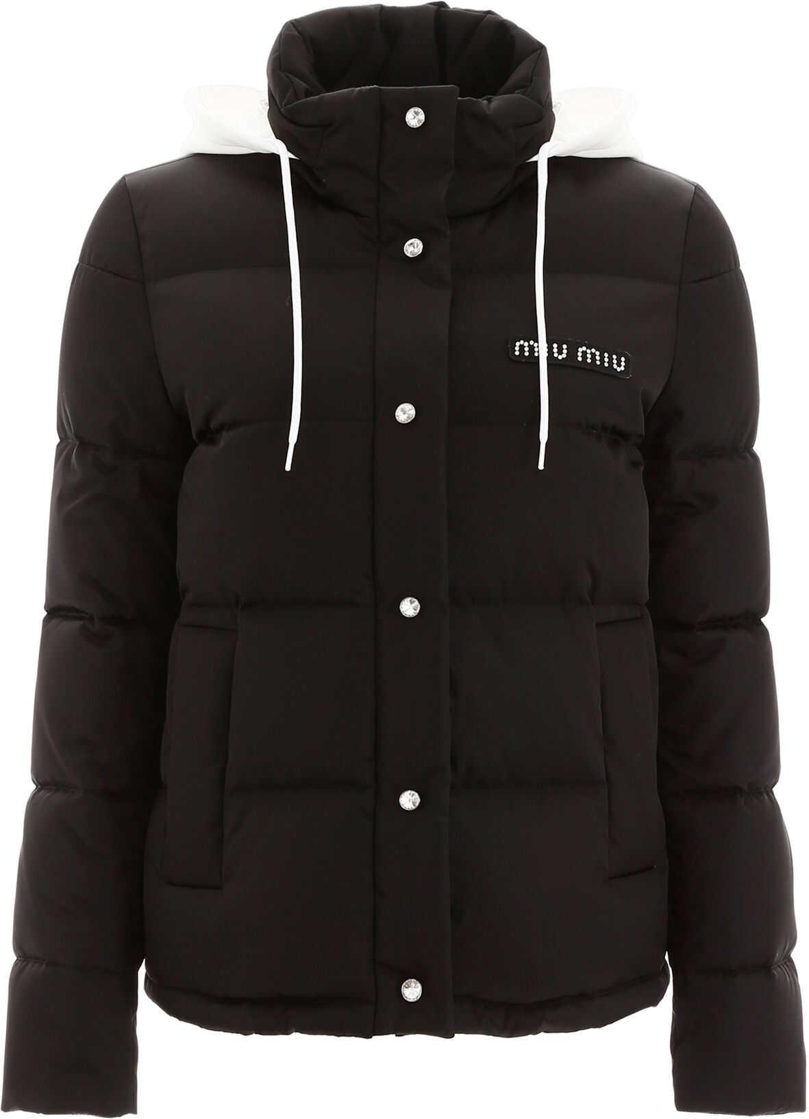 Miu Miu Logo Puffer Jacket With Crystals NERO