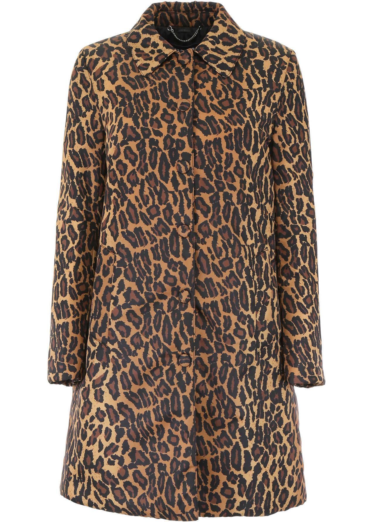 Miu Miu Leopard-Printed Coat KAKI