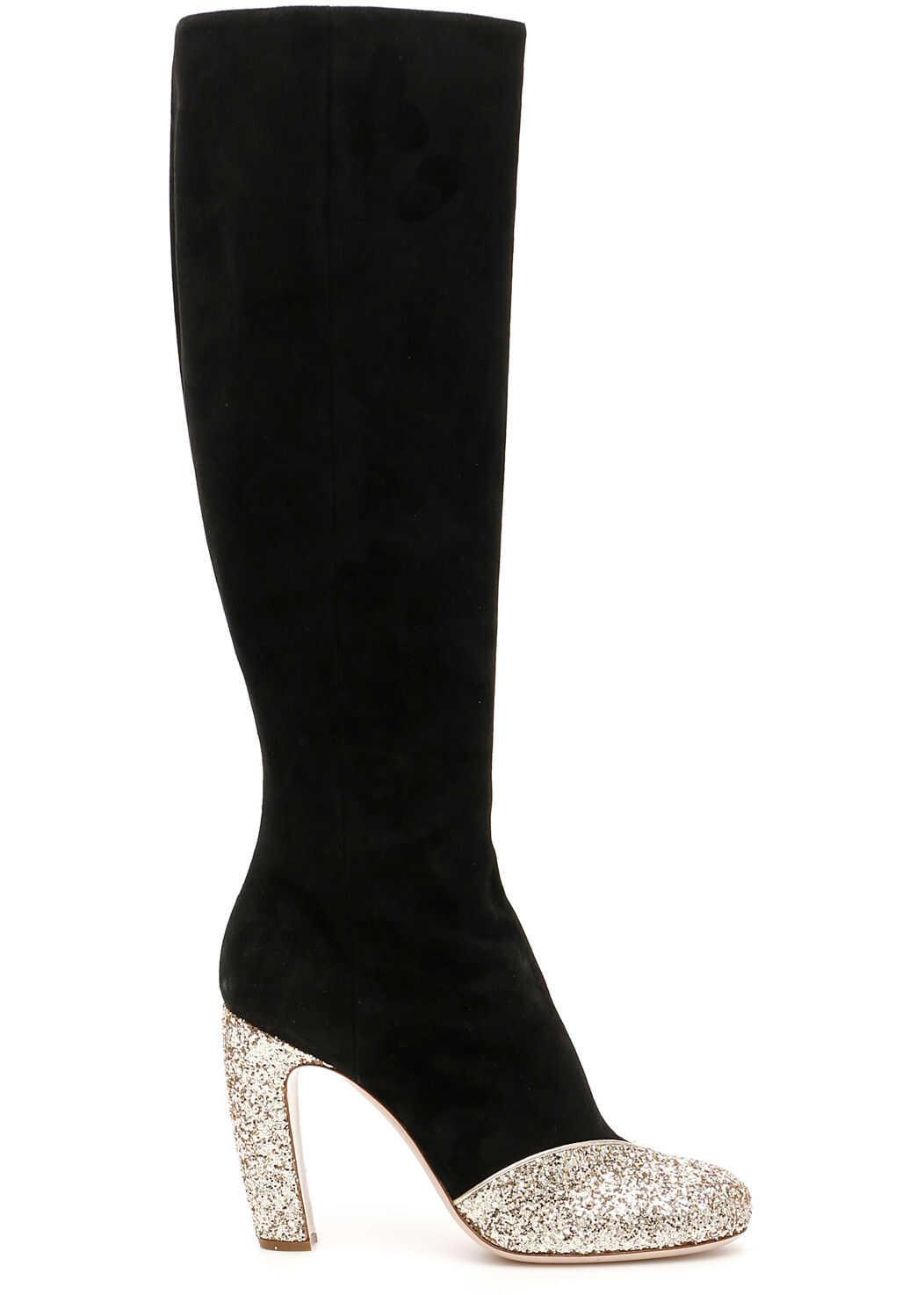 Miu Miu Boots With Glitter Details PIRITE NERO