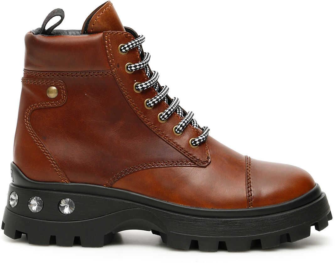 Miu Miu Crystal Lace-Ups Boots COGNAC