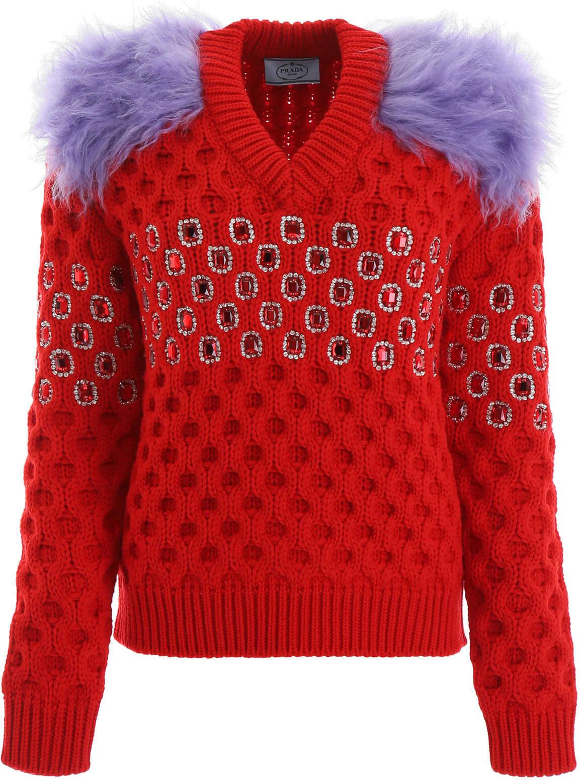 Prada Crystal-Embellished Pull ROSSO IRIS