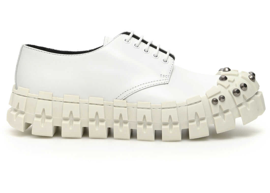 Prada Studded Derby Lace-Ups BIANCO