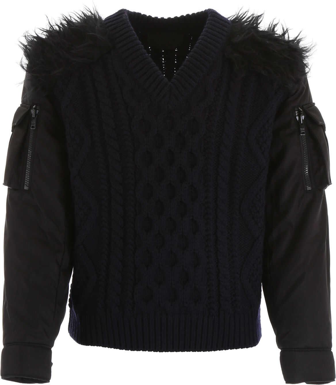 Prada Pullover With Nylon Sleeves BLU NERO