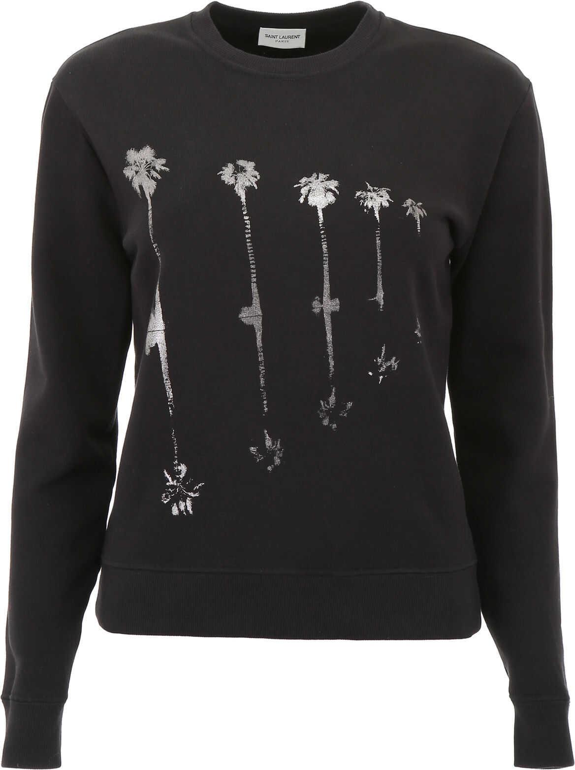 Saint Laurent Sweatshirt With Palms Print NOIR ARGENT