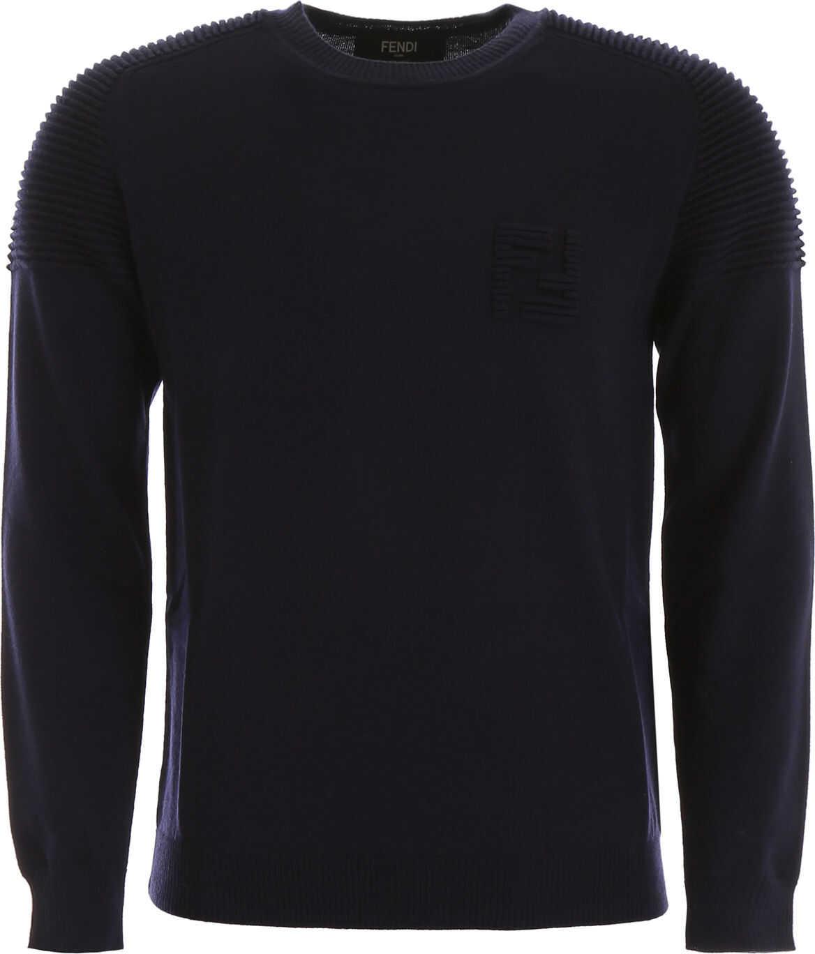 Fendi Pullover With Ff Logo DARK BLU