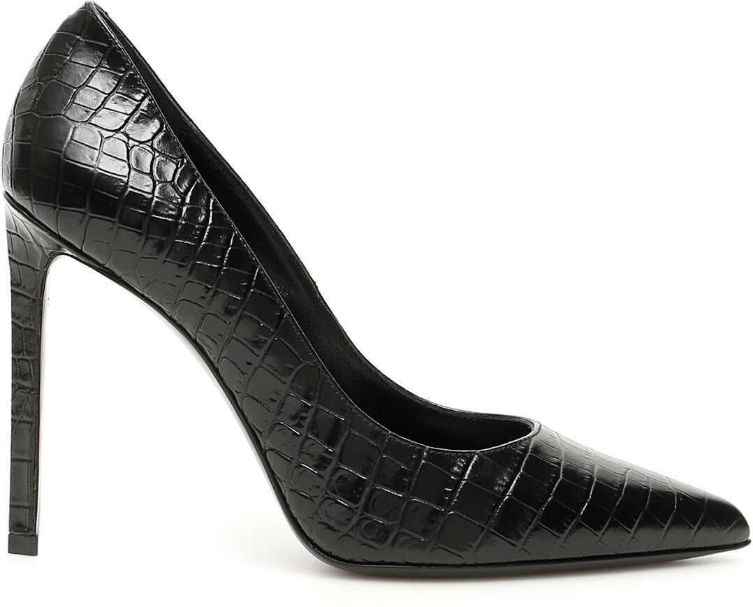 Céline Croc Print Pumps BLACK