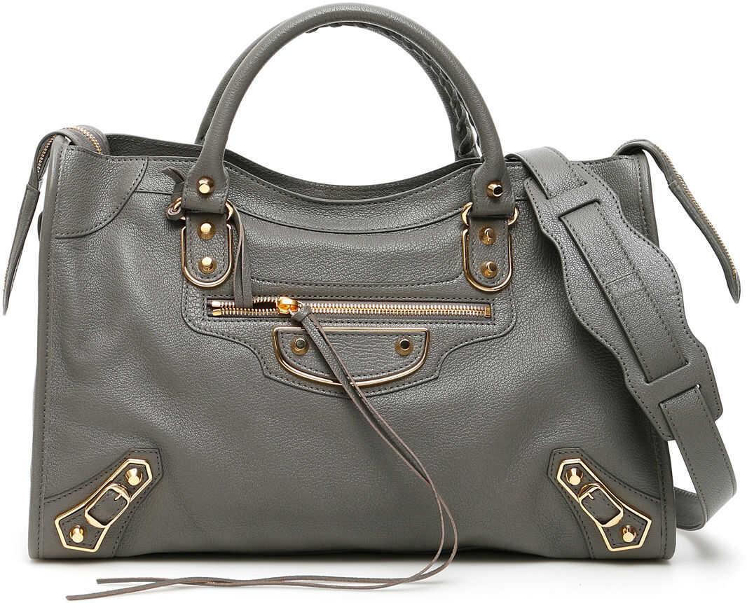 Balenciaga Metallic City Bag MEDIUM GREY