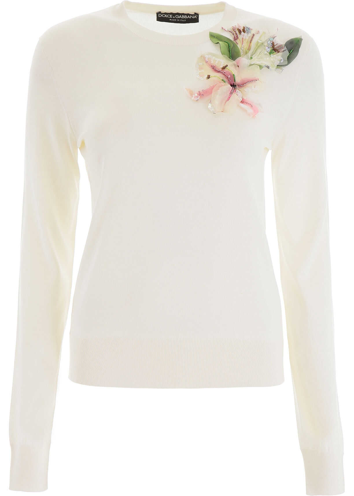 Dolce & Gabbana Pull With Organza Flower BIANCO NATURALE