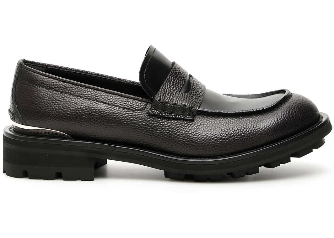 Alexander McQueen Leather Loafers BLACK BLACK SILVER